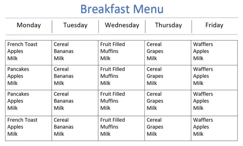 Breakfast Menu